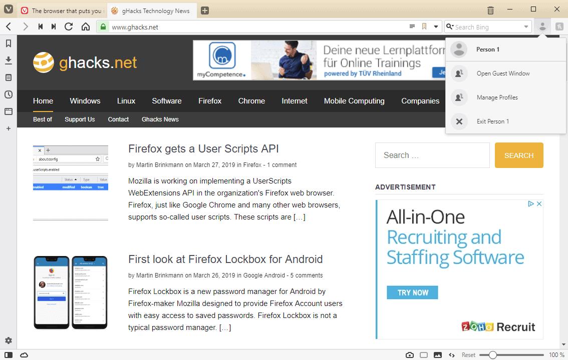 vivaldi user profiles
