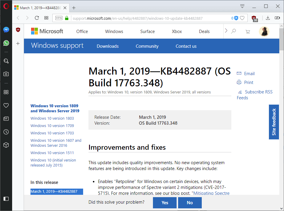 KB4482887 for Windows 10 version 1809 - gHacks Tech News