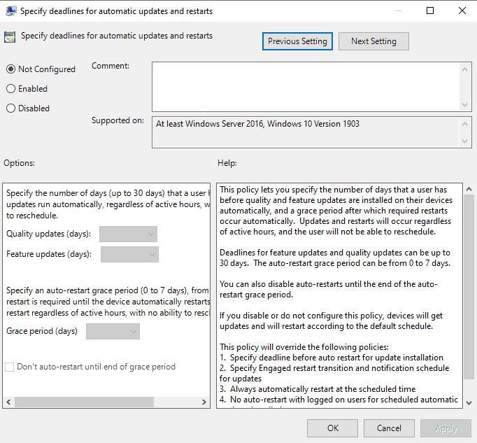 windows 10 specify deadlines