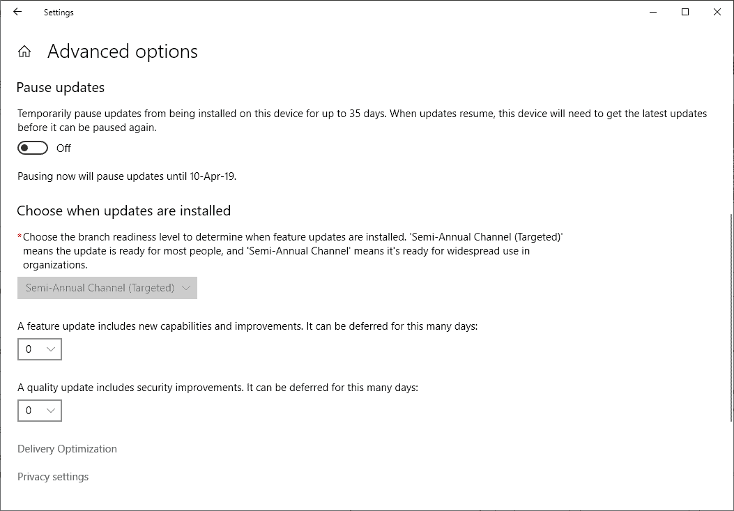 windows 10 version 1809 defer updates
