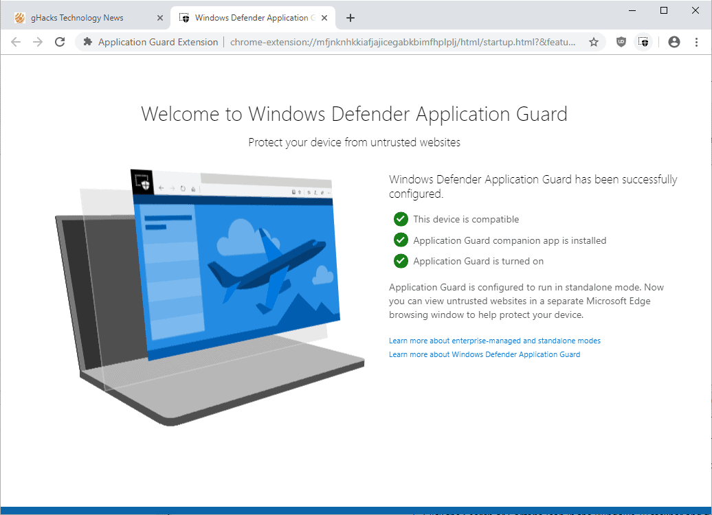 windows defender application guard extension