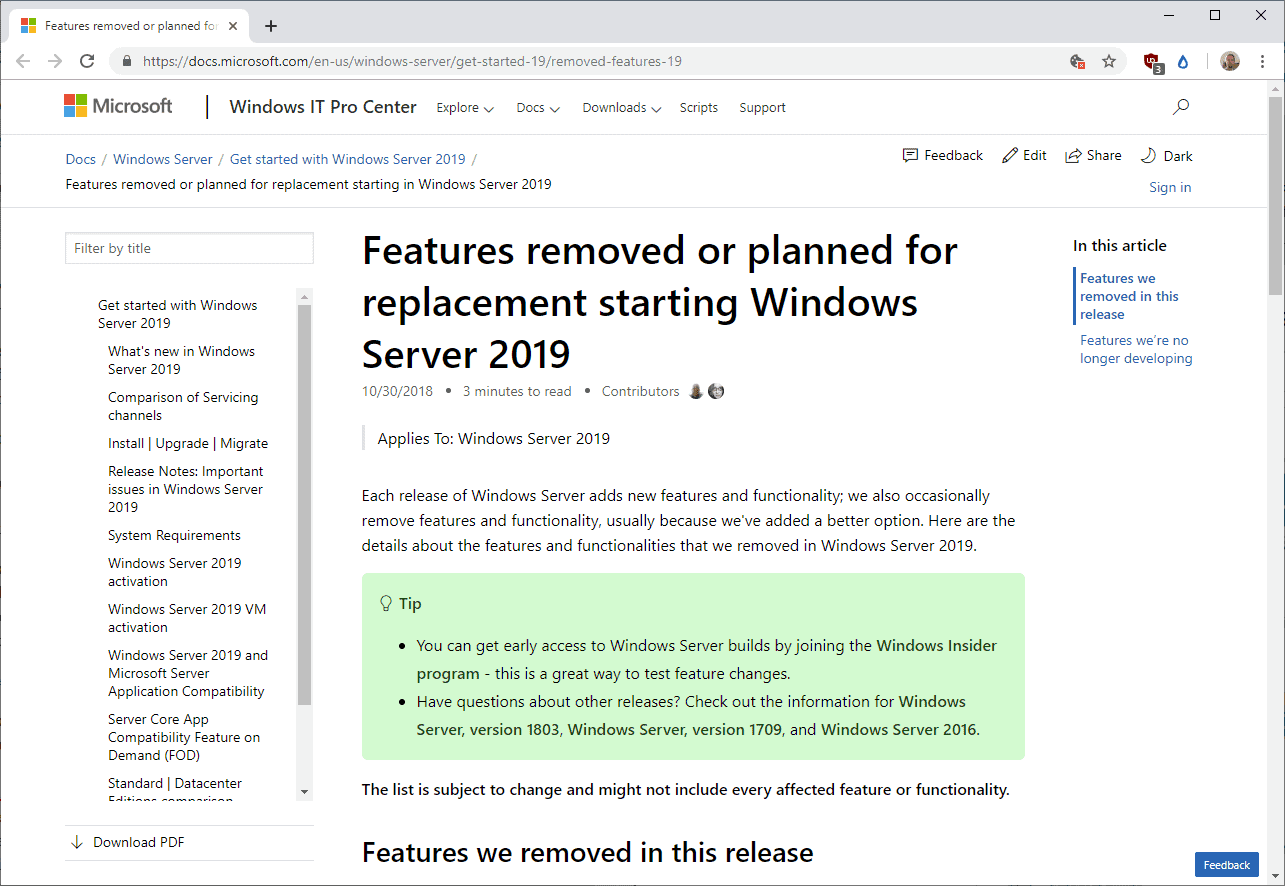 Windows Server 2019: removed and deprecated features