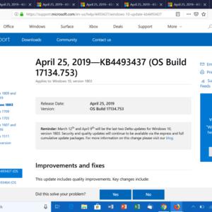KB4493437 windows 10