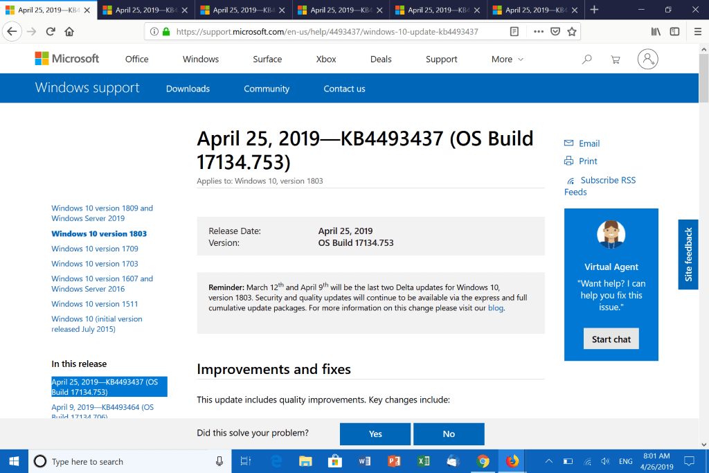 Windows 10 updates KB4493437, KB4493440, KB4493436 and KB4493473