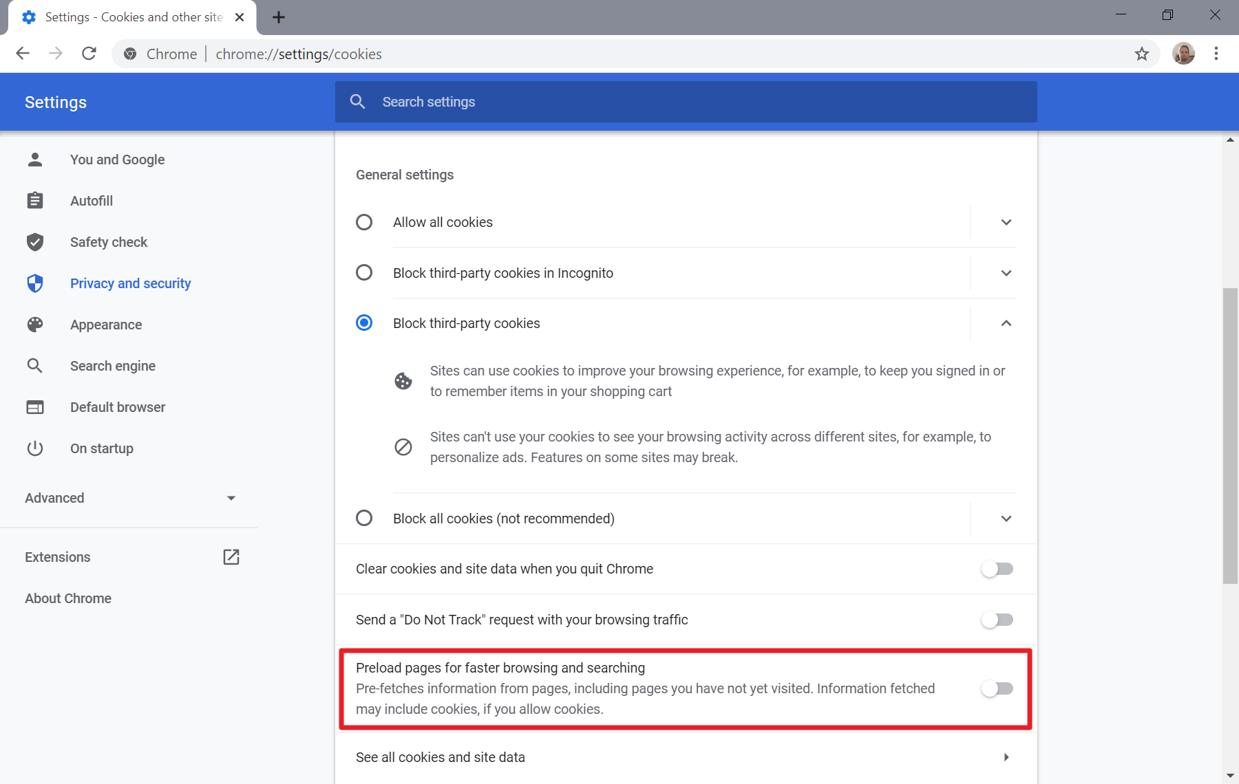 chrome preload pages moved