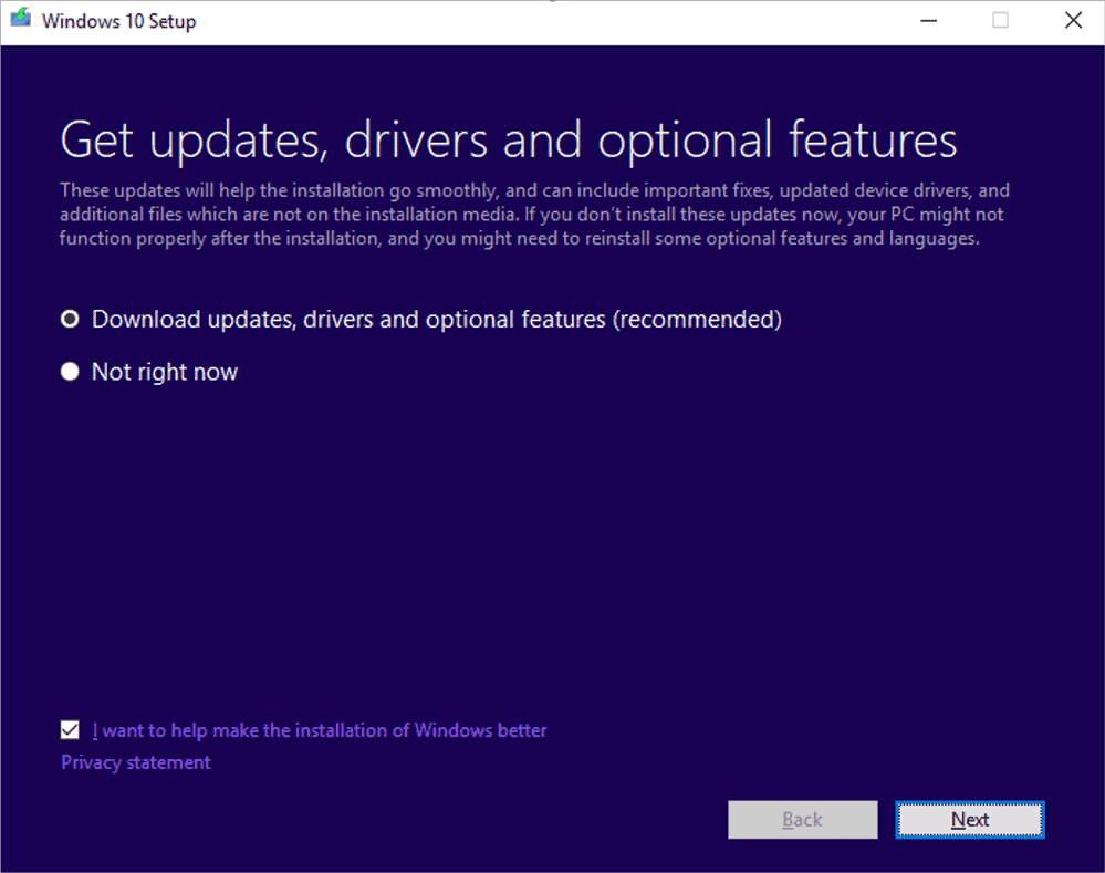 dynamic updates windows 10