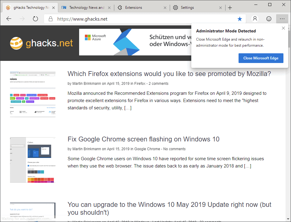Edge (Chromium) warns you if you run it with elevated privileges