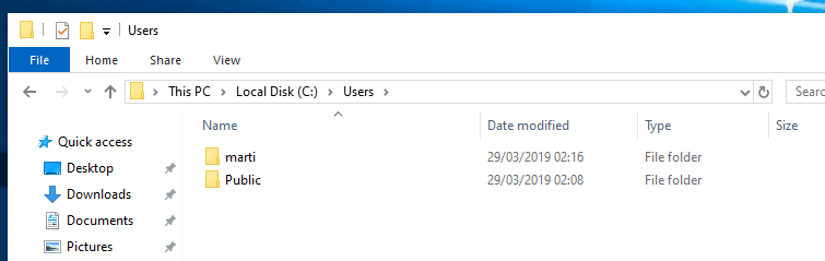 microsoft account user folder five chars