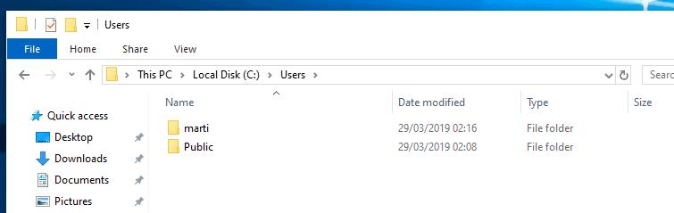 microsoft account user folder five chars