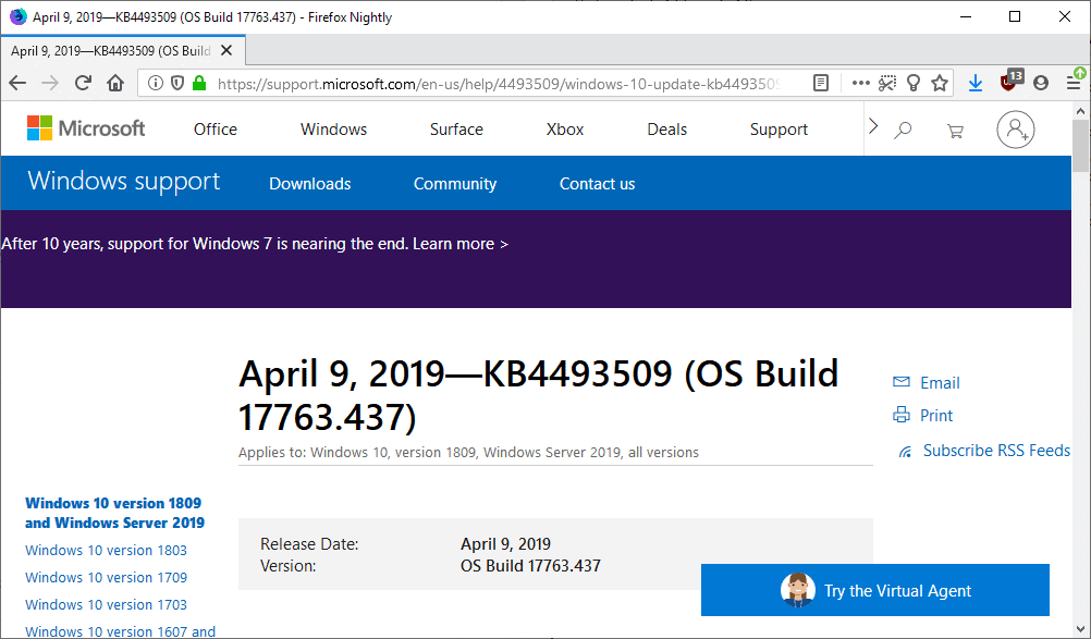 Microsoft Windows Security Updates April 2019 overview