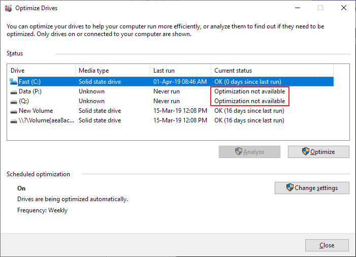 optimization not available