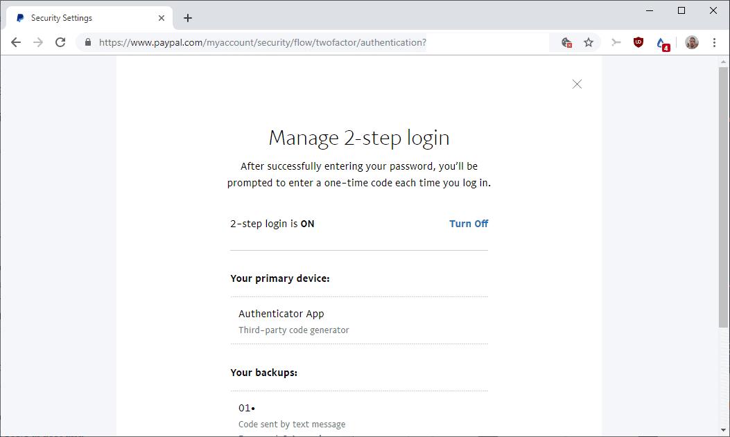 paypal 2-step login