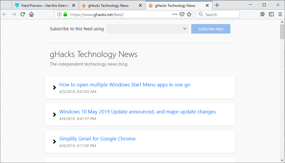 rss feed preview firefox