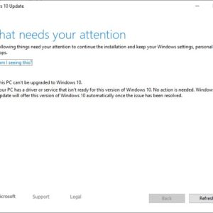windows 10 needs your attention can't be upgraded