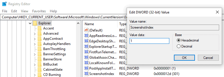 windows screenshot index number
