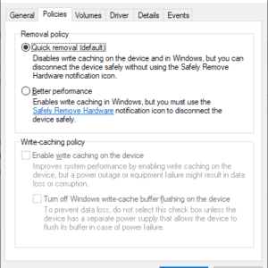 windows usb quick removal better performance