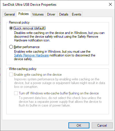 Windows 10 1809: Quick Removal new default for external storage
