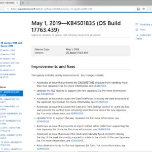 KB4501835 windows 10 version 1809
