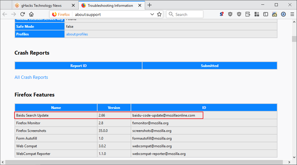 baidu search update firefox
