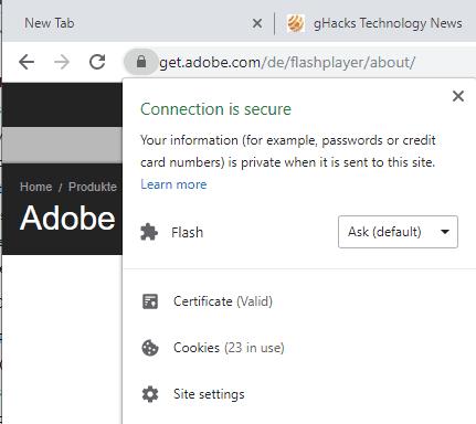 chrome flash site settings