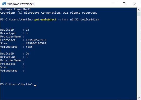 display disk information windows powershell