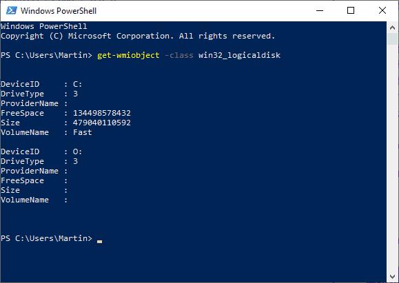 display disk information windows powershell
