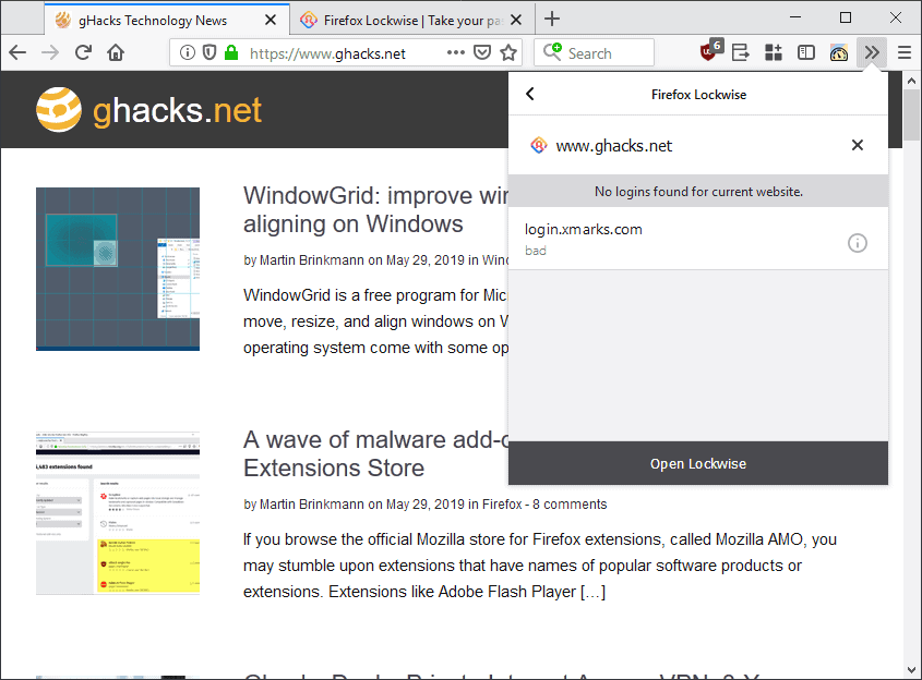 Mozilla releases Firefox Lockwise (formerly Lockbox) add-on - gHacks