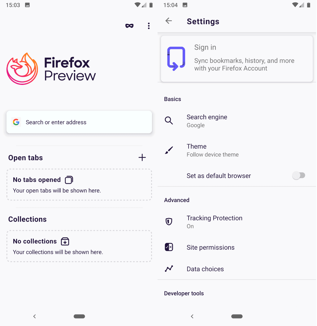 Mozilla Firefox Preview, new Firefox browser, is available on Google