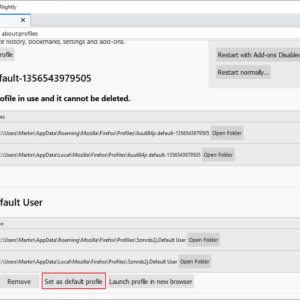 firefox set default profile