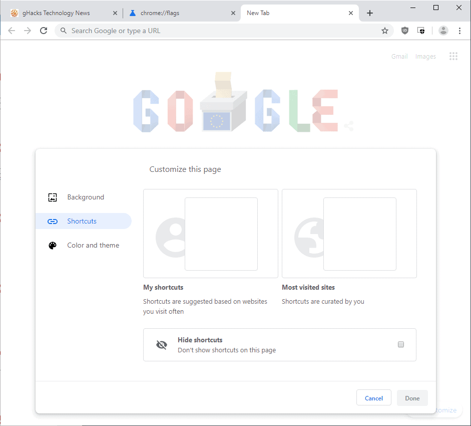 google chrome new tab page customize 2019