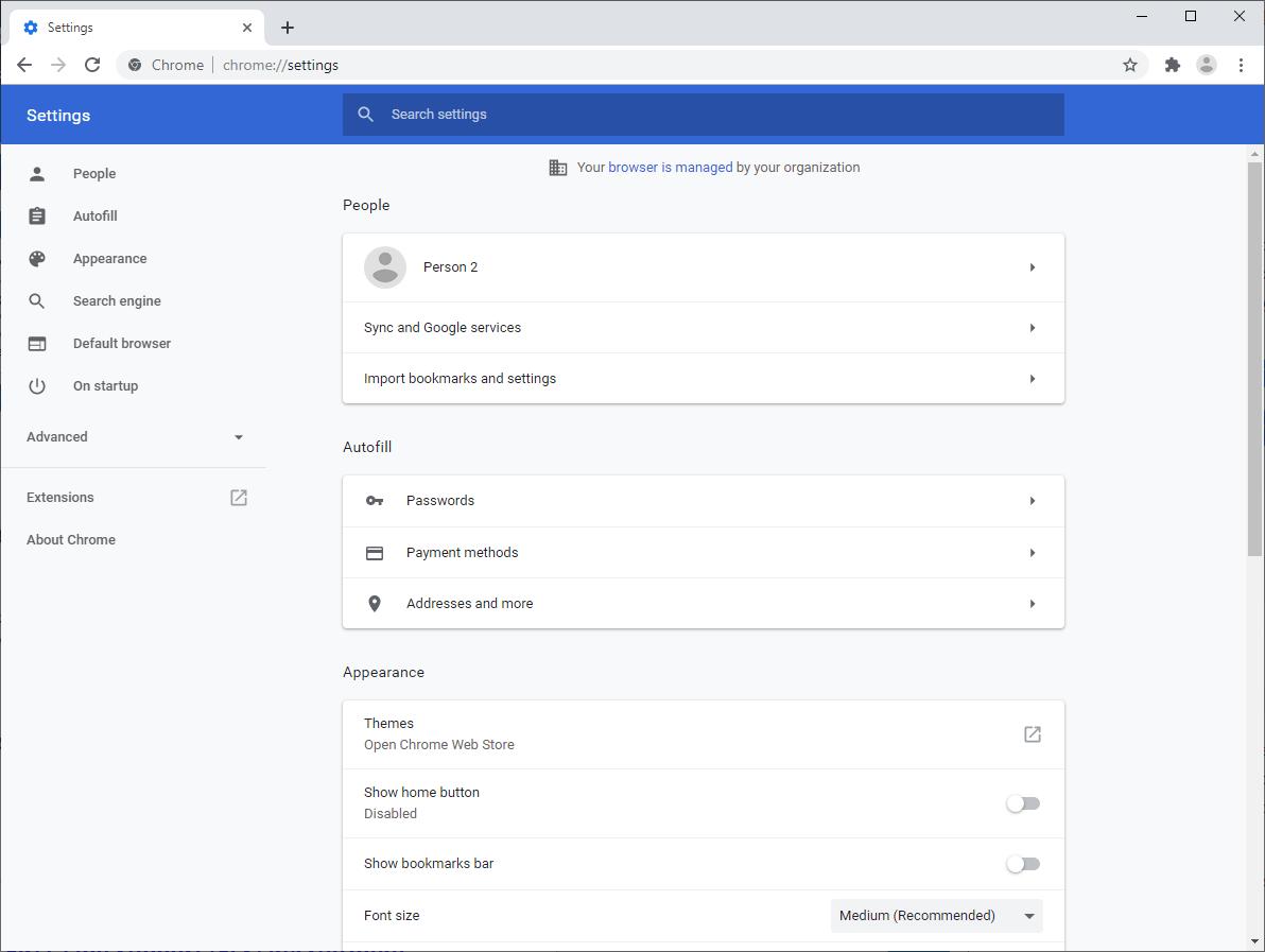google chrome settings page
