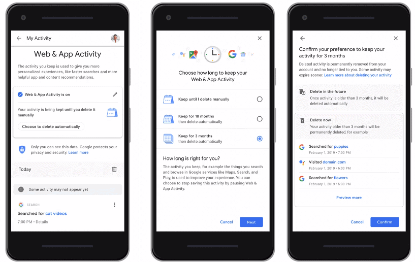 google delete activity automatically
