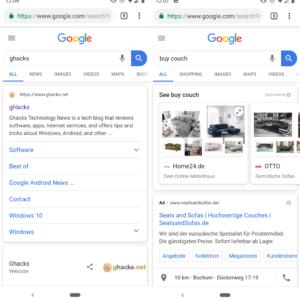 google search mobile new design