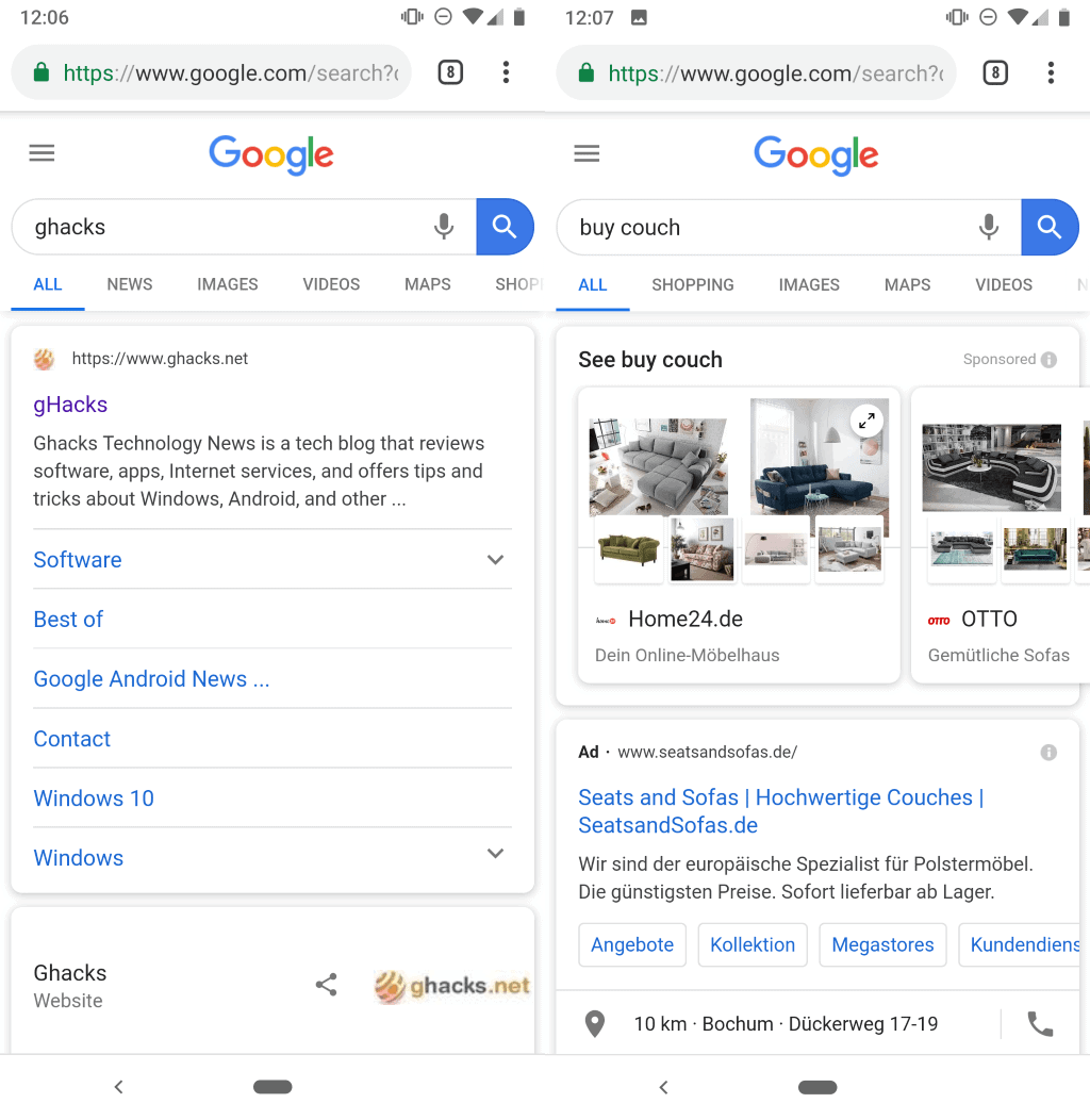 google search mobile new design
