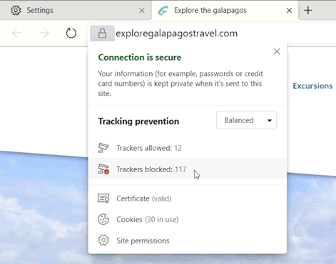 microsoft edge tracking prevention