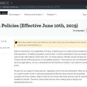 mozilla add-on policies