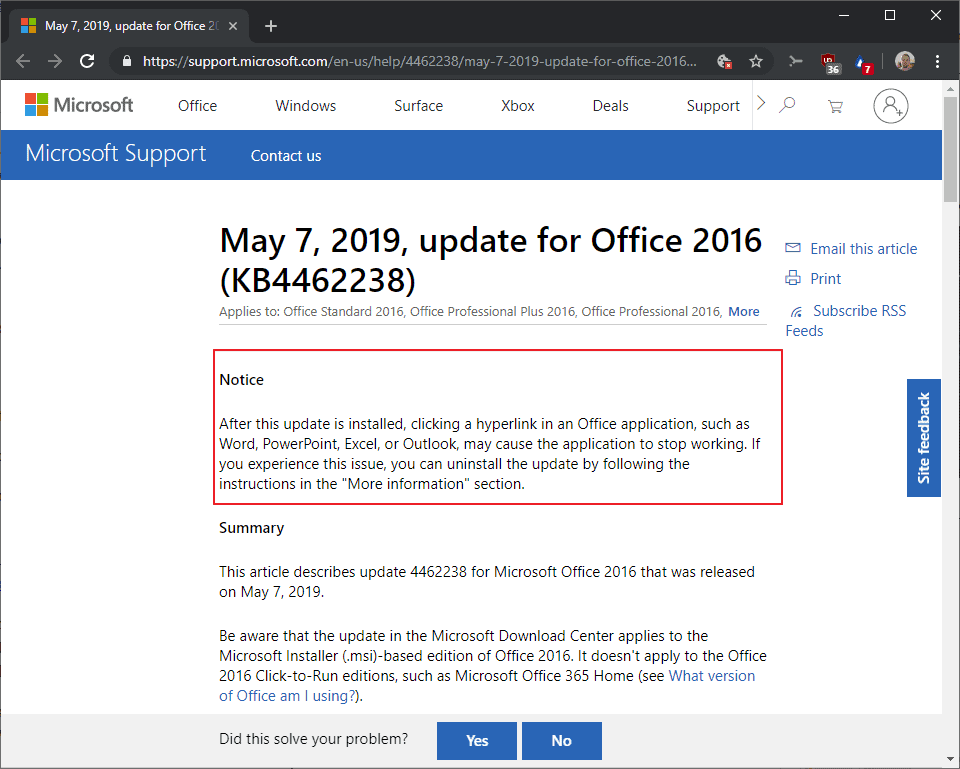 office kb4462238 2016 issue