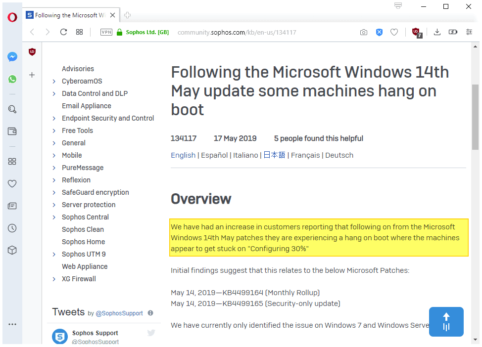 May 2019 updates for Windows 7 and Server 2008 R2 don't play