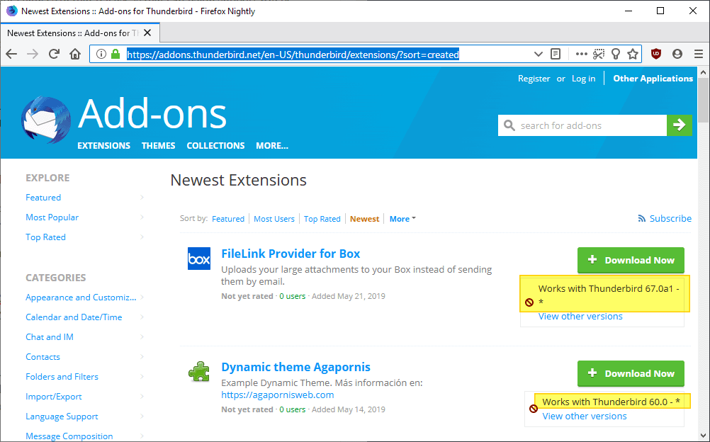 thunderbird extensions compatible