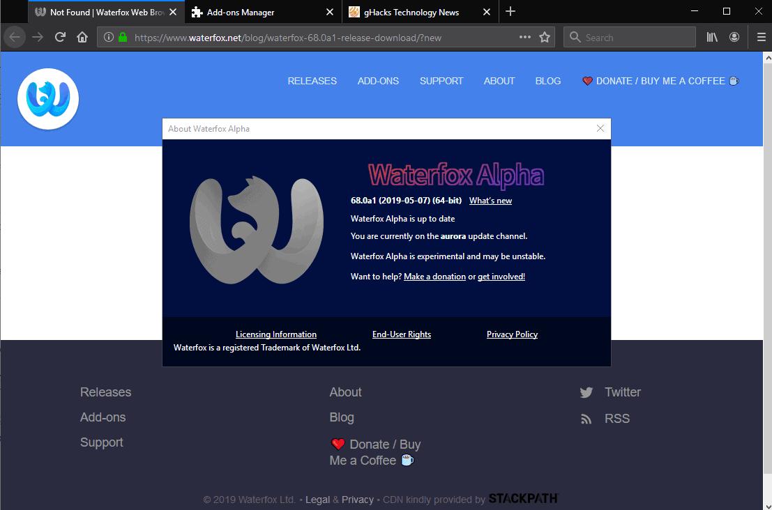 screenshot waterfox 68 alpha