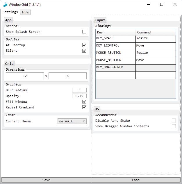 windowgrid settings