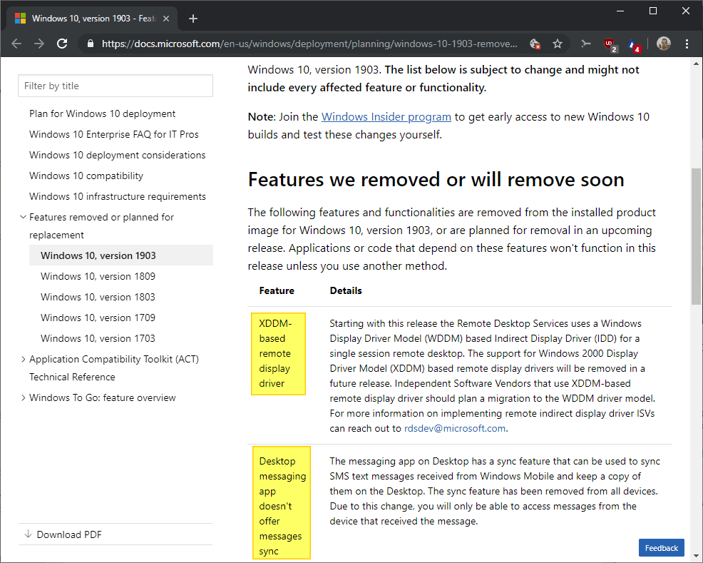 windows 10 1903 feature removed deprecated