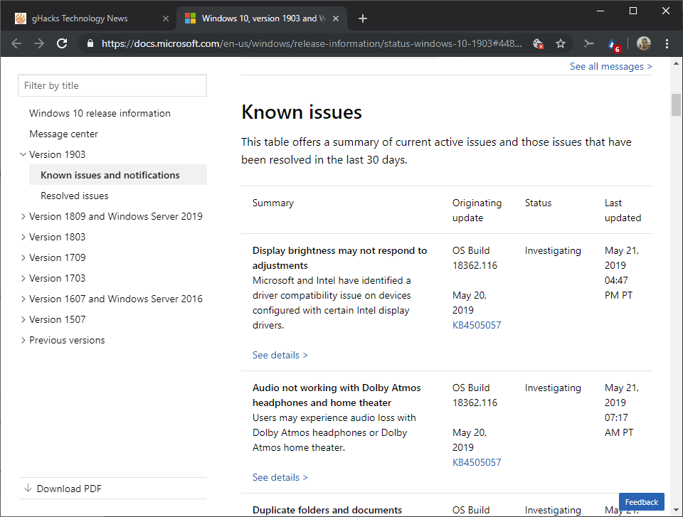 All existing issues with Windows 10 version 1903 (May 2019