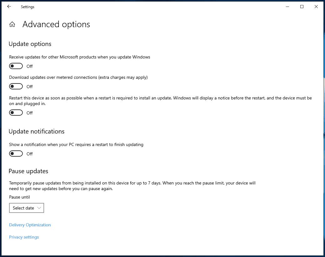windows 10 903 no update deferral