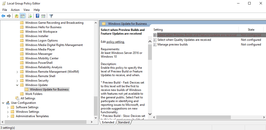 windows 10 group policy deferral