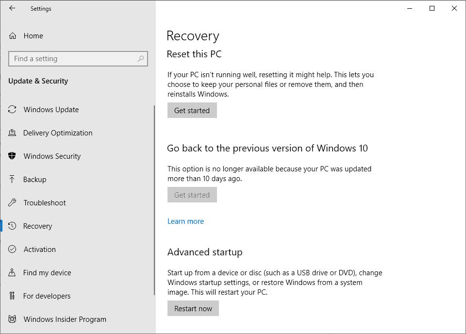 windows 10 system restore fails