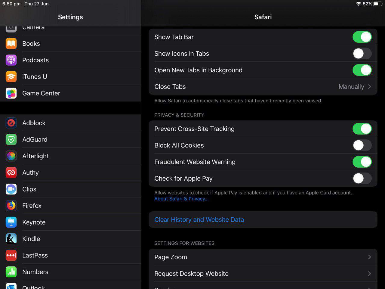 How to configure Safari in iOS