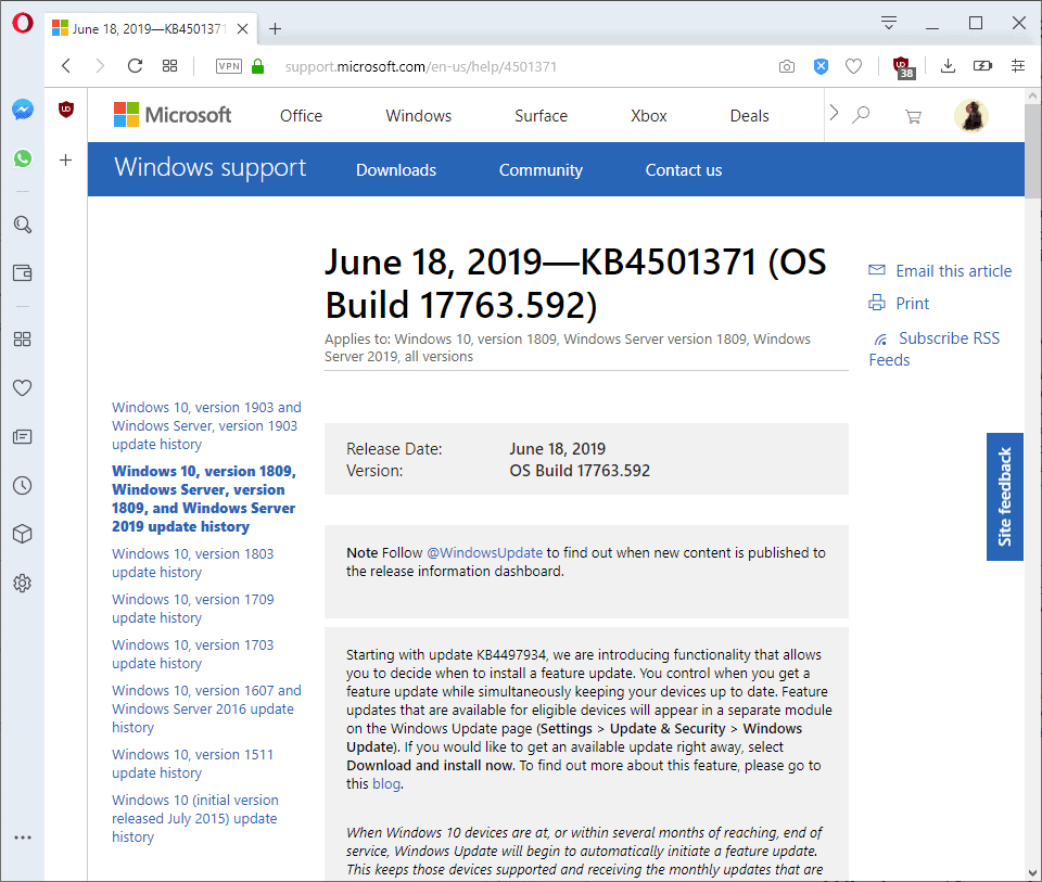 KB4501371 and KB4503288 for Windows 10 version 1809 and 1803