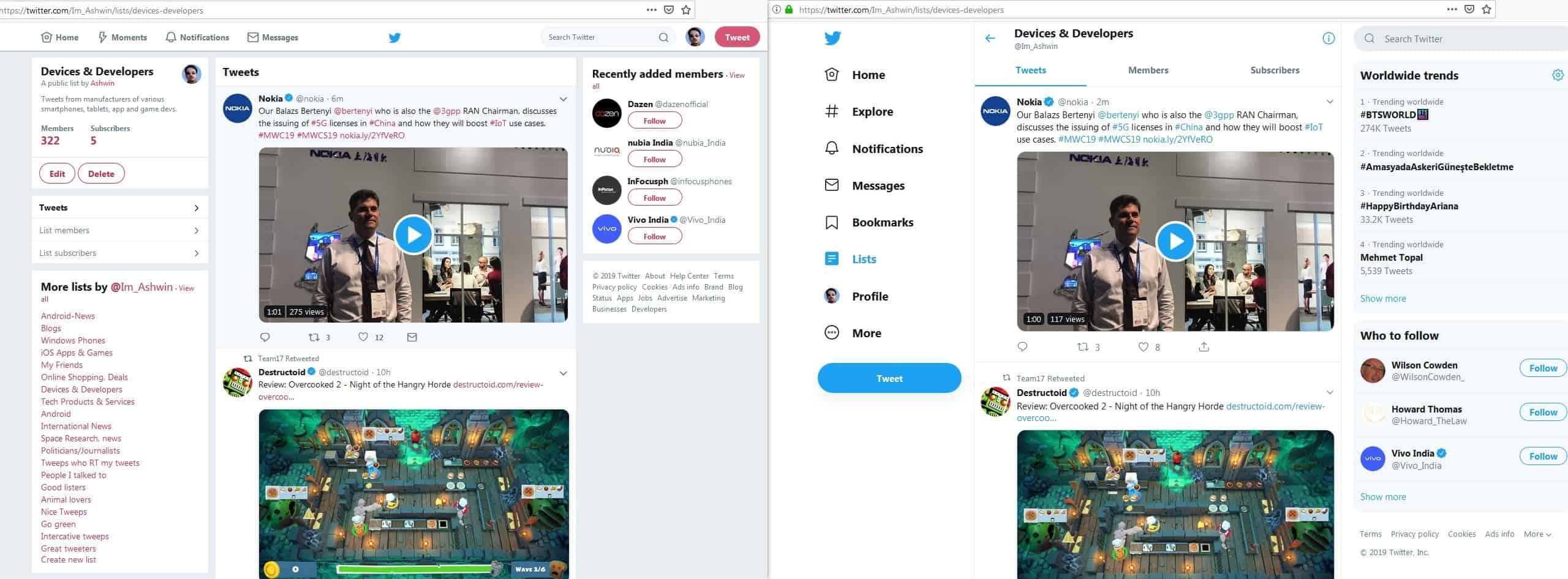 Twitter old design vs new