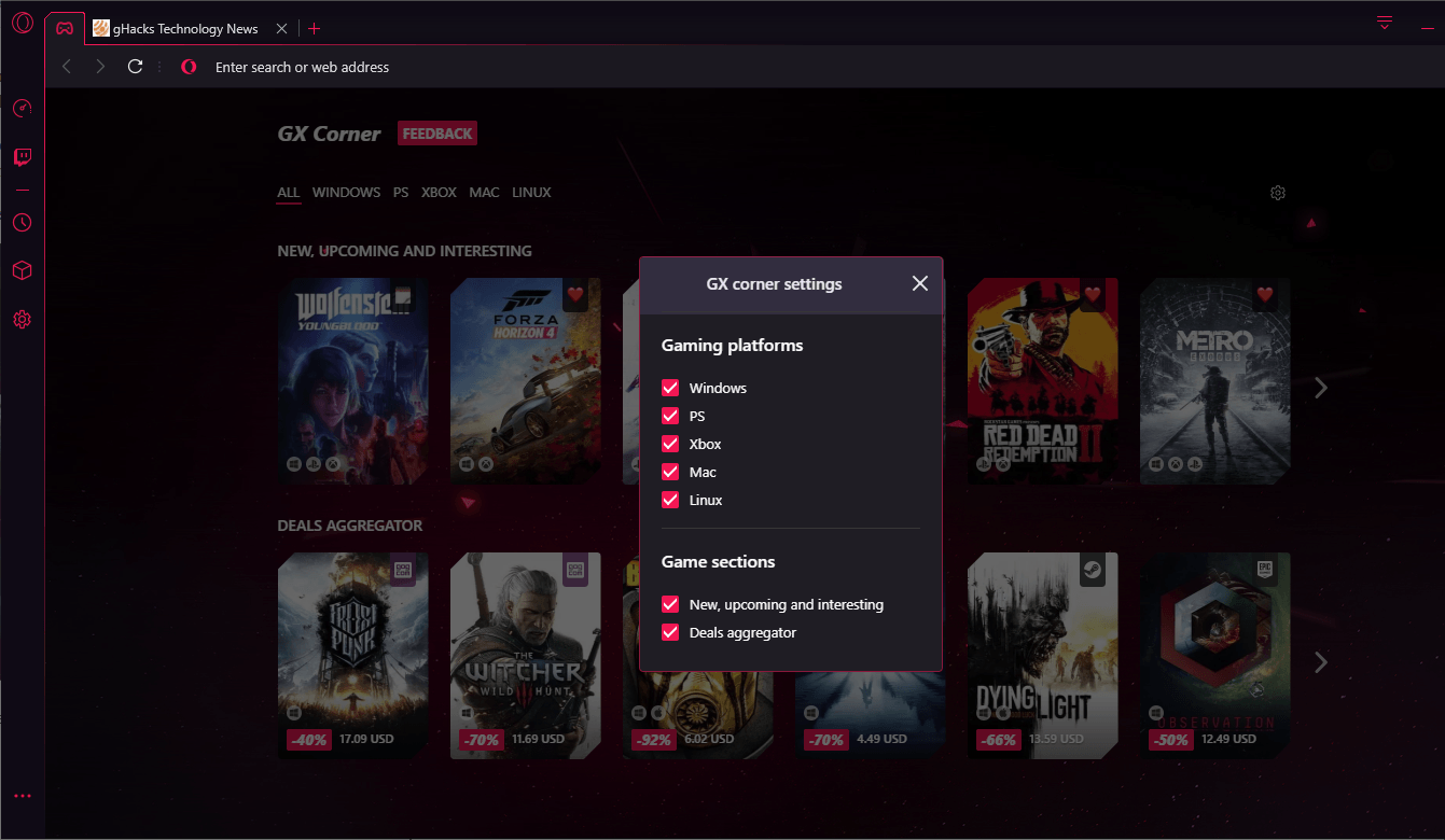 New Opera 'Gaming Browser' Can Limit RAM, CPU Usage